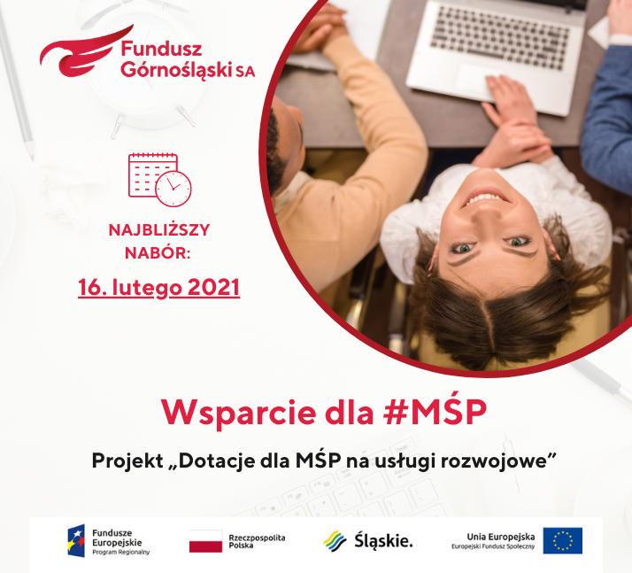 """Najbliższy nabór wniosków wprojekcie """"Dotacje dla MŚP nausługi rozwojowe"""""""
