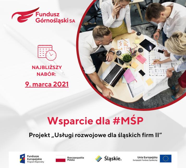 """Najbliższy nabór wniosków wprojekcie """"Usługi rozwojowe dla śląskich firm II"""""""